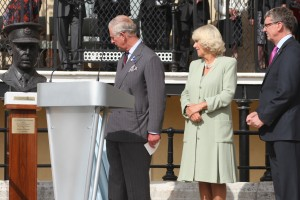 Princes Charles and Duchess of Cornwall with Sir Brian Burridge, Chair of Bentley Priory Battle of Britain Trust unveiling a bust of Dowding at the opening of the Museum in September 2013