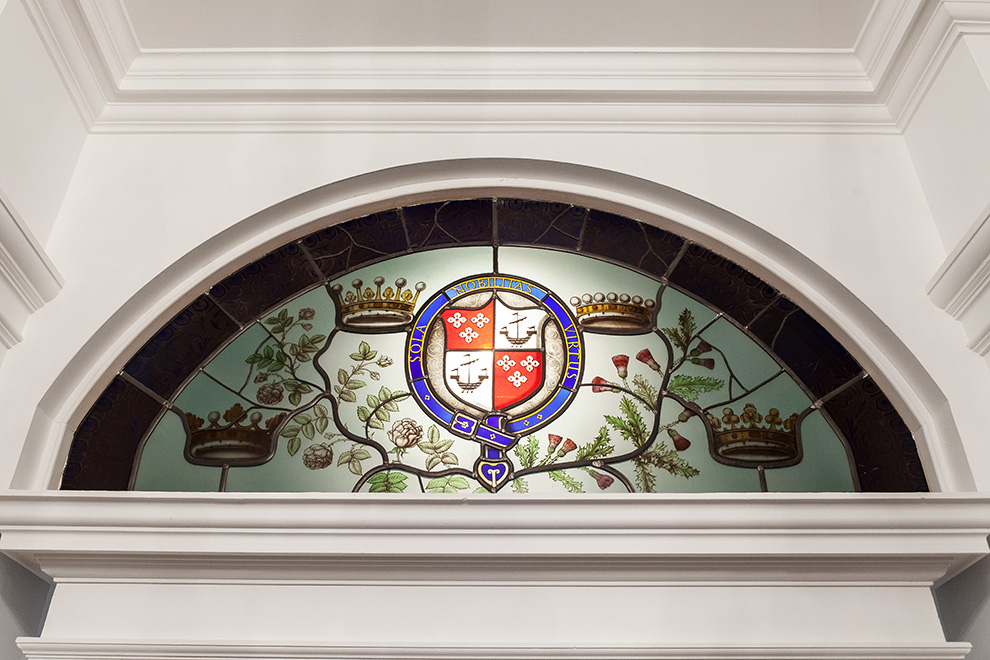The Abercorn Family Crest, above the door to The Abercorn Room at Bentley Priory Museum