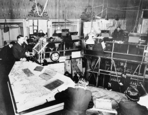 Black and white photograph of the Operations Room at RAF Bentley Priory