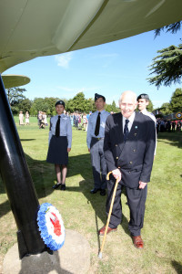 Battle of Britain veteran William Walker laying a wreath to absent friends outside Bentley Priory